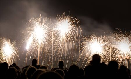 crowd gazing at fireworks