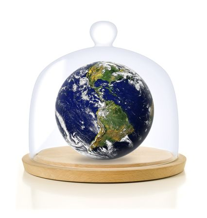 earth under a glass dome; global warming concept Stock Photo