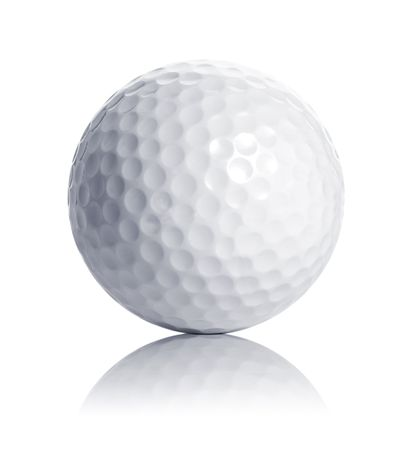 golf ball isolated on white with reflection Stock Photo