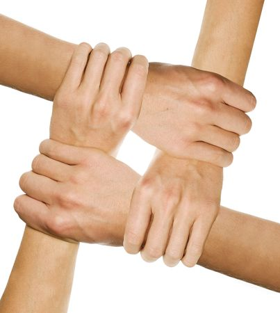 hands joined together symbolizing team-spirit Stock Photo - 5114512