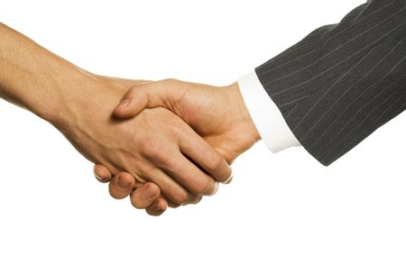 boss and employee shaking hands Stock Photo