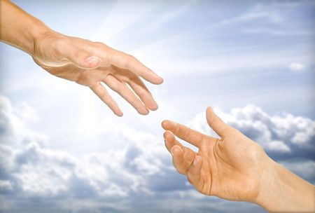 god hand: the helping hand (cooperativeness concept image) Stock Photo