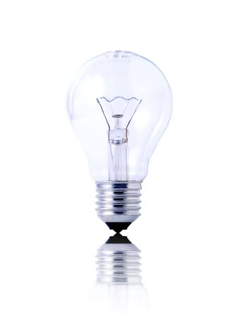 light bulb on white background with reflection photo
