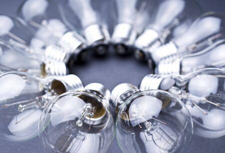 light-bulbs forming a circle, shallow dof