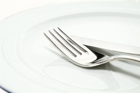 a fork and knife on a plate close-up shot