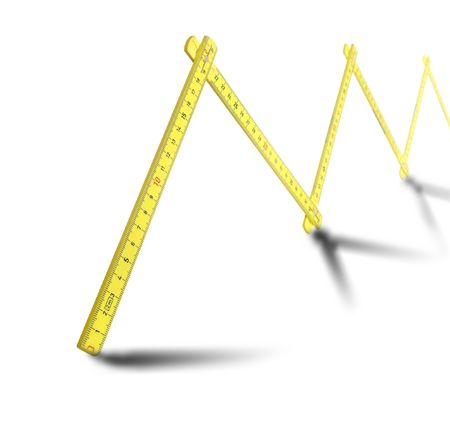 yellow ruler with shadow Stock Photo