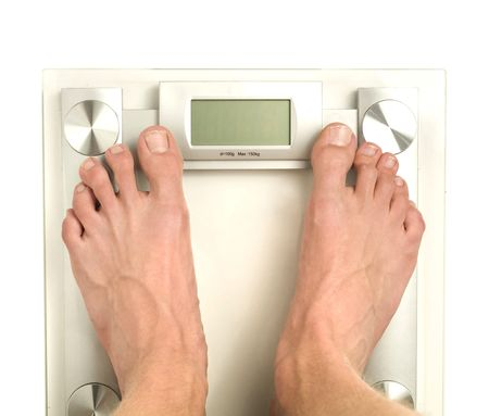 standing on a bathroom scale with blank digital display
