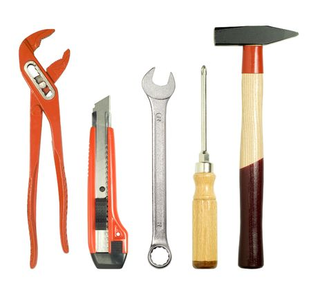 different tools, isolated on white Stock Photo