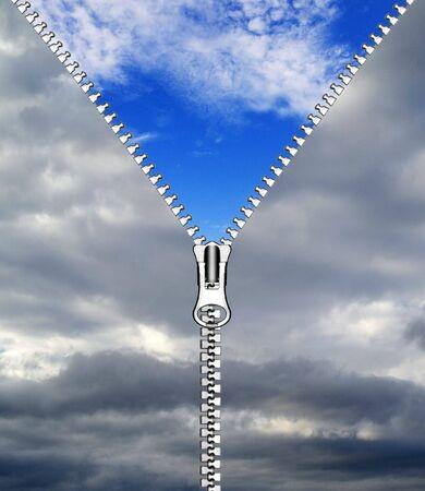 zipper opening blue sky photo