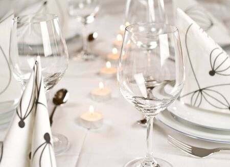 table setting with candles Stock Photo