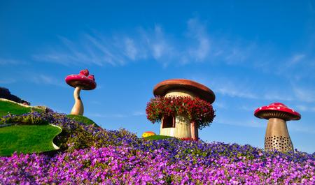 Mushroom houses at Miracle Garden, Dubai, UAE, 2016