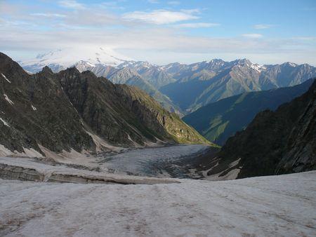 glasier: Mt. Elbrus and Kashkatash glasier. Russia.