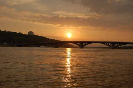dniper: Sunset on the Dnepr river. Kiev sity, Ukraine Stock Photo