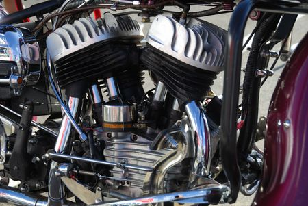 Side view of motorcycle engine photo