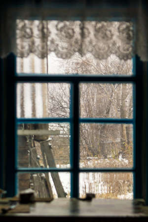 winter outside the window, table by the window