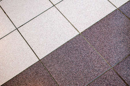 diagonal joint of two colors of tile