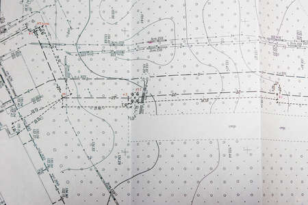 topographic terrain plan, location of communications in the terrain