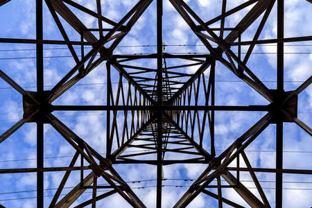 High voltage metal anchor support of power transmission lines view from below
