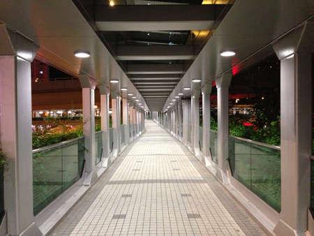 vlonder: Voetgangersbrug in de nacht Stockfoto