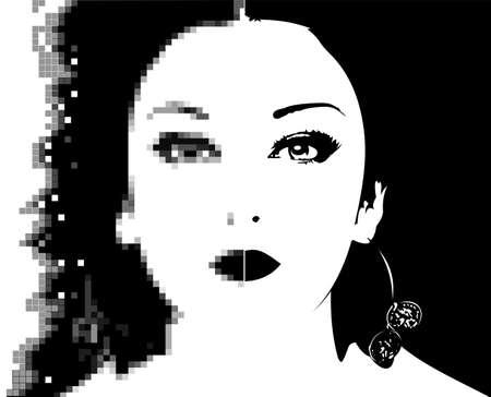 pixelate: Pixelate Mosaic Black And White Girl Face. Vector Illustration.