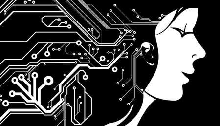 circuitos electronicos: Chica de la cara - placa de circuito impreso patr�n