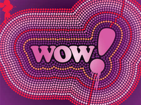 abstract symbolism: Wow Neon Text Illustration