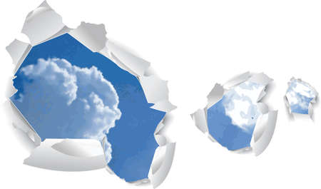 gash: Blue Sky Clouds Over Paper Holes. Vector Illustration. No Meshes.