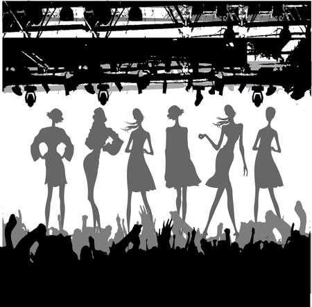 perform performance: Fashion Podium Silhouette Illustration