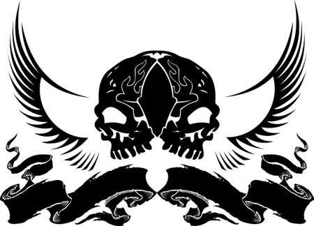 braqueur: Wing Skull Heraldry Illustration