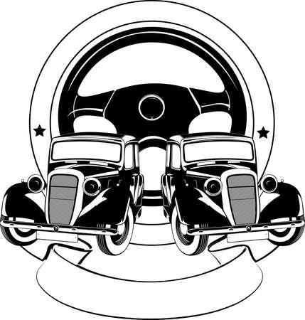 scroll wheel: Old Car Sign  Illustration