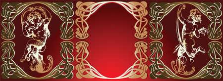 trio: Trio Red Background Golden Cupids