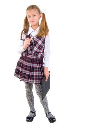 school uniform girl: Cute Teen Schoolgirl. Isolated On White Background. Stock Photo