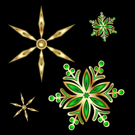 bedeck: Gold Christmas Satr And Snoflake. Vector Illustration.