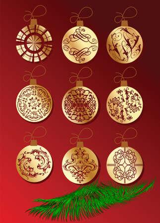 christmass: Gruta de Christmass �rbol rojo con balones de oro. Ilustraci�n vectorial.