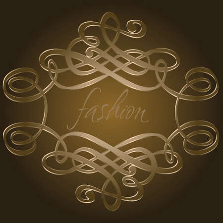 Dark Brown Calligraphy Curves Quad. Vector Illustration.