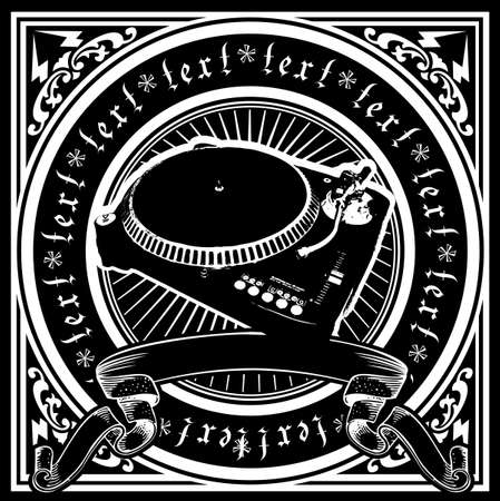 dj: Black And White DJ Player Ornate Quad. Vector Illustration.