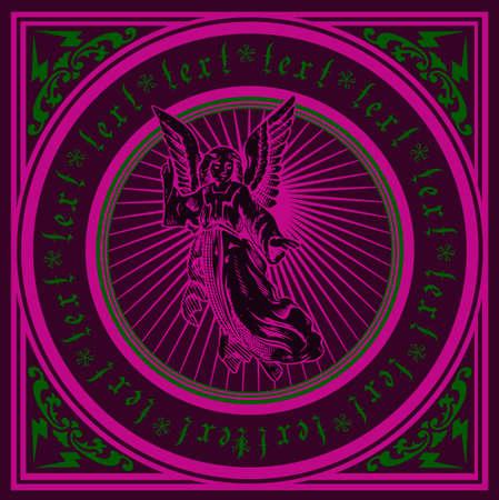 dark angel: Dark Purple Angel Quad. Vector Illustration.