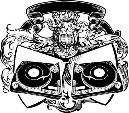 Heraldry DJ Sign With Turntables. Vector Illustration.