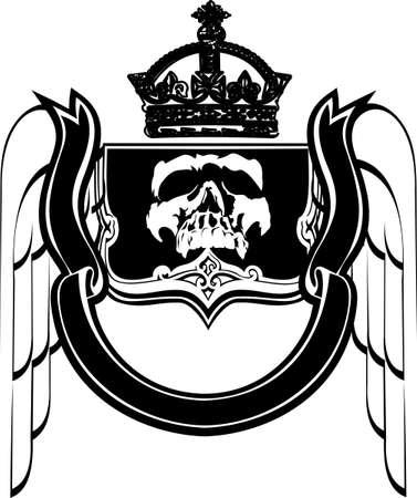 eye sockets: Black And White Crowned Scull Heraldry. Vector Illustration. Illustration