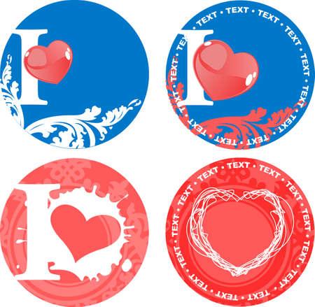 likeur: Set Of Romance Love Pink And Blue tekenen. Vector illustraties.  Stock Illustratie