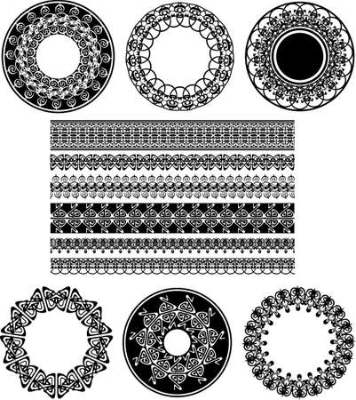 Many Lace Border Ornaments. Black And White Vector Illustration. Illustration