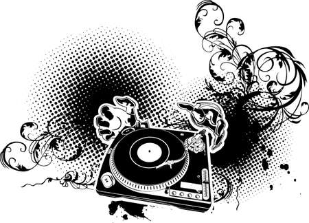 dj turntable: Illustration on a musical theme with turntable