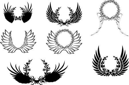 black wreath: Set Of Four Black And White Wingsl Wreath. Illustration