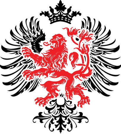 lion wings: Black Red Decorative Heraldry Ornate Banner.