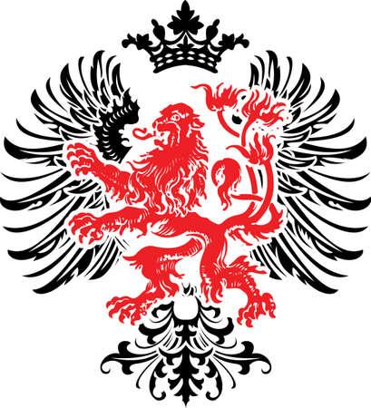 lion wings: Her�ldica decorativa red banner con adornos en negro.
