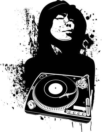 dj turntable: One Color Modern DJ Graffiti Style.  Illustration