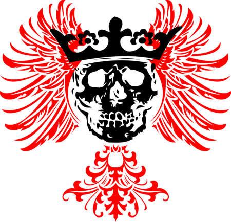 mortalidad: Black coronado Skull on Red Wings.  Vectores