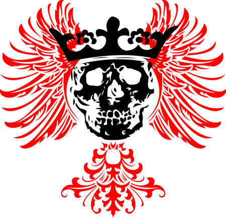 skull and crown: Black Crowned Skull on Red Wings.  Illustration