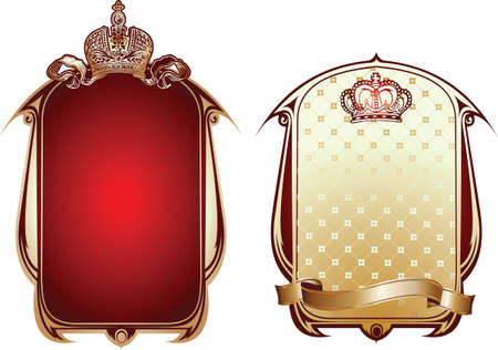 aristocratically: Red And Gold Royal Ornate Banner.  Illustration