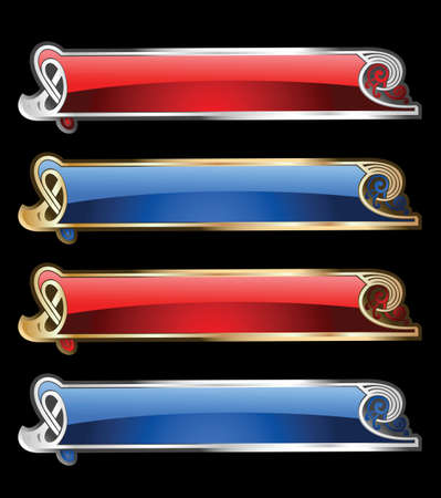 decode: Set Of Four Glow Gold And Silver Banners. Illustration